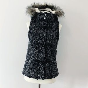 Mossimo Black Winter Vest with Hood
